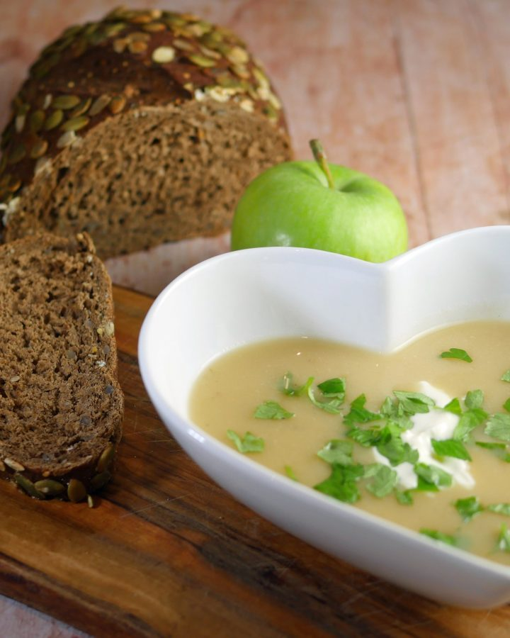 Parsnip apple and horseradish soup