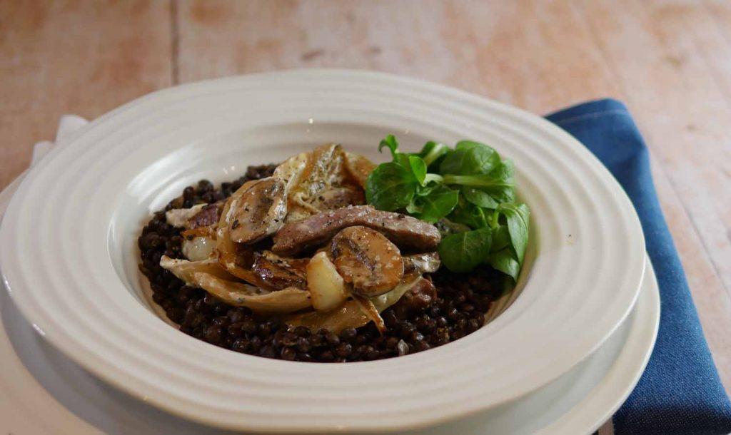 Pork stroganoff with mushroom and fennel