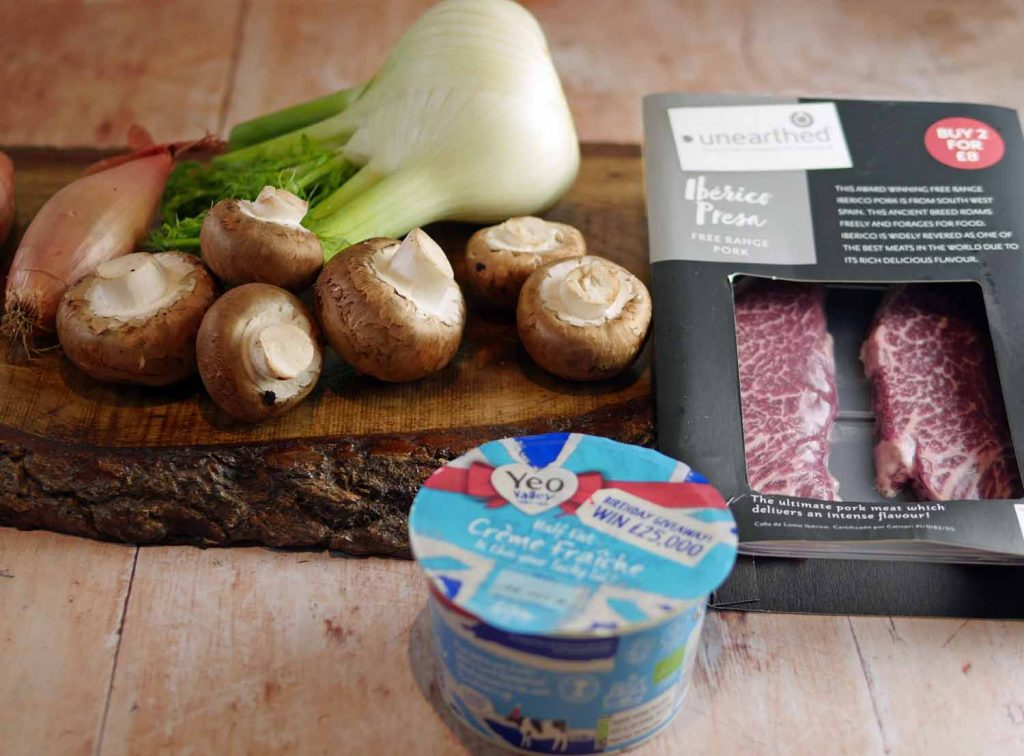 Pork Stroganoff ingredients
