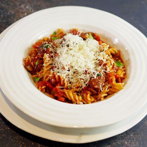 Vegetarian Sausage Pasta with Parmesan