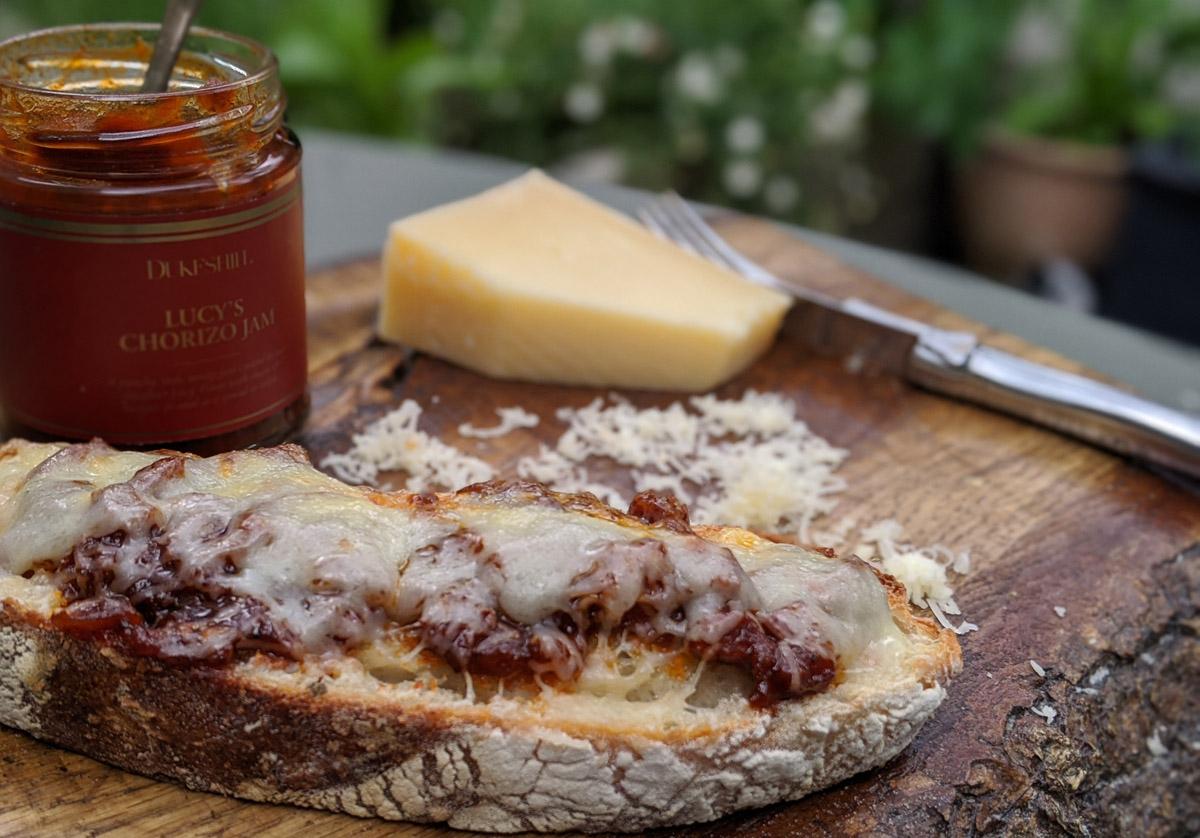 Cheese and Chorizo Jam Tartine