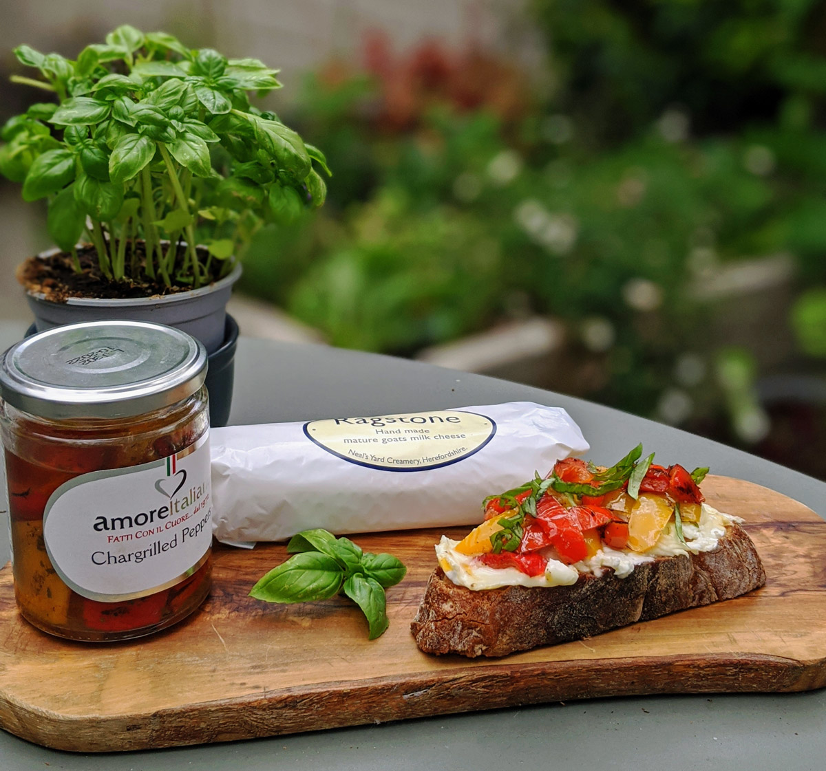 Goats Cheese and Red Pepper Tartine