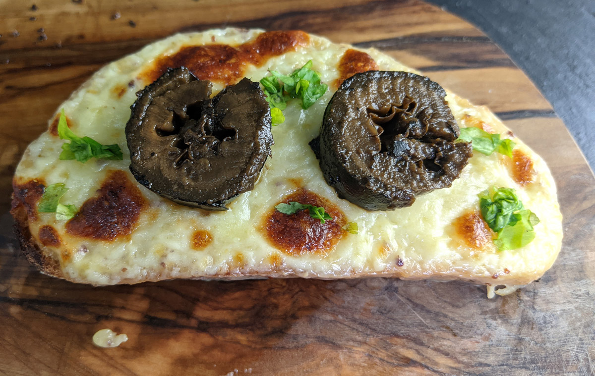 Welsh Rarebit with pickled walnuts