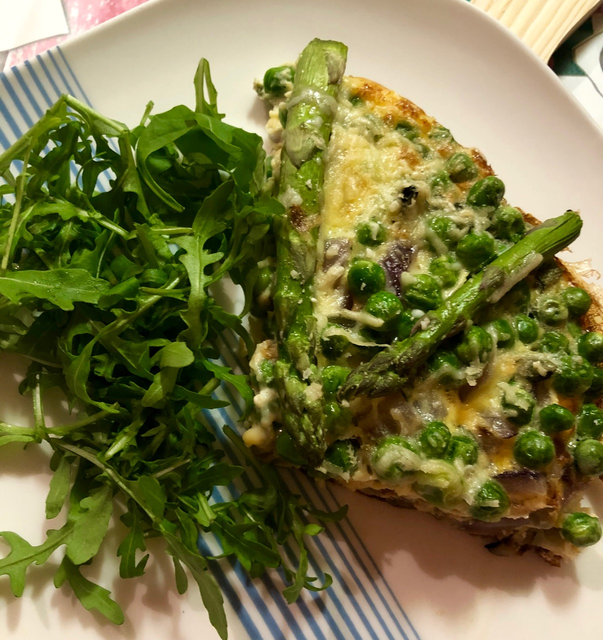 pea, broad bean and asparagus frittata portion