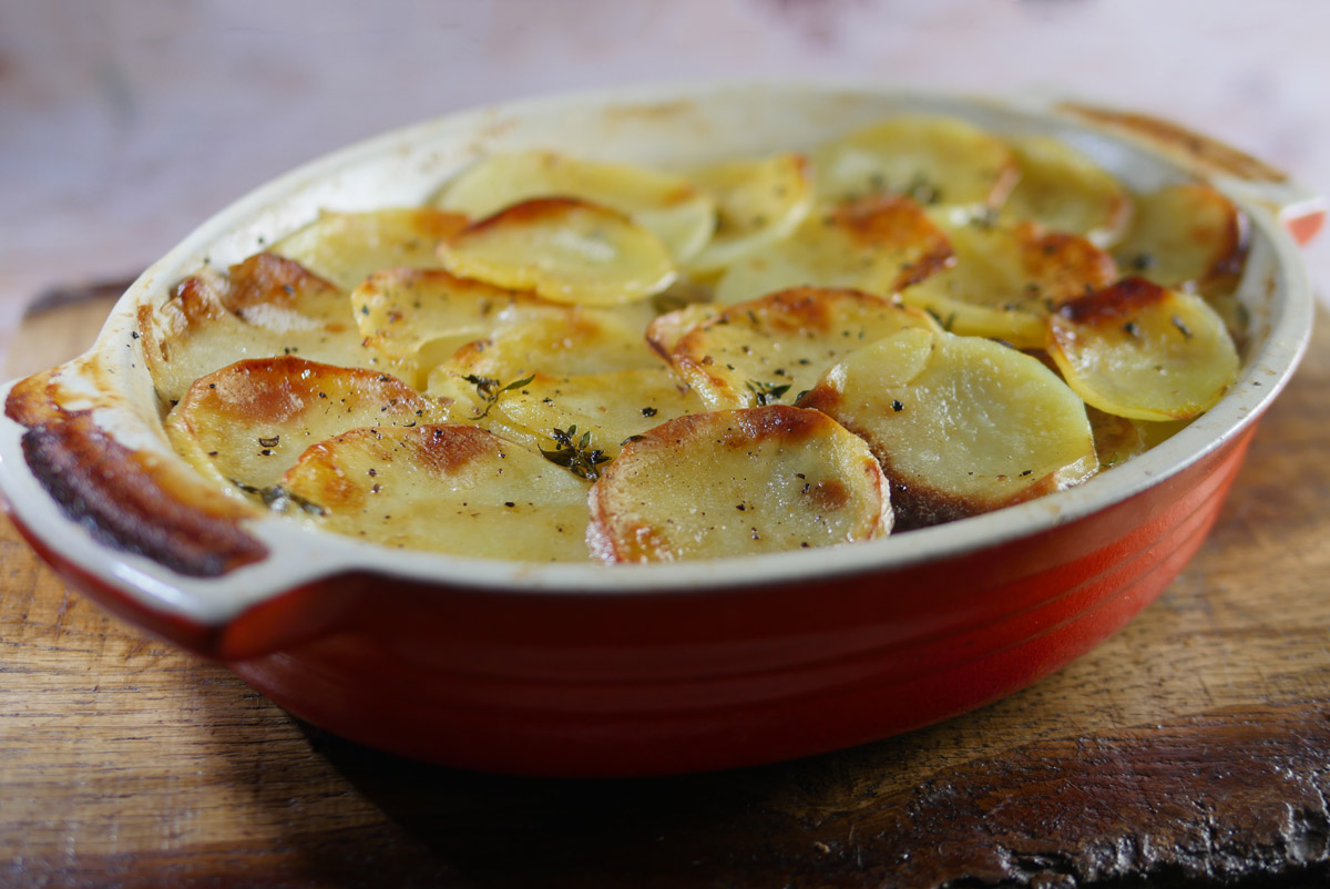 Boulangere Potatoes Cooked