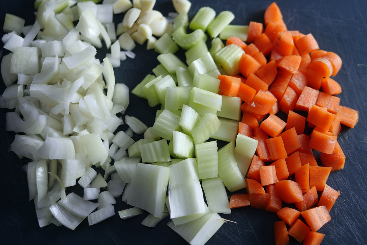 Chopped Vegetables for Spicy Tomato and Lentil Soup