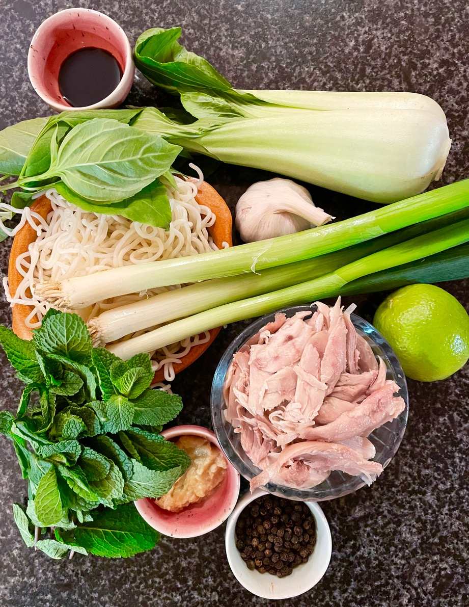 All the ingredients you need for an authentic chicken pho soup
