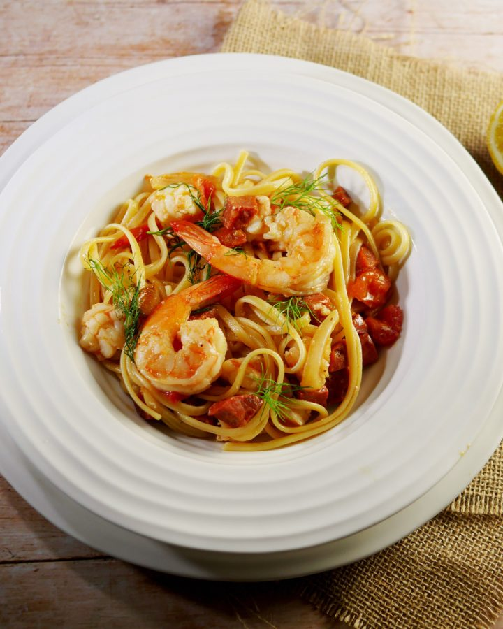Chorizo and Prawn Linguine