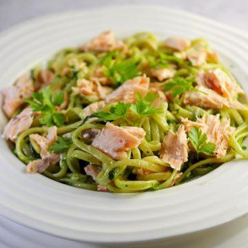 Salmon linguine with wild garlic pesto