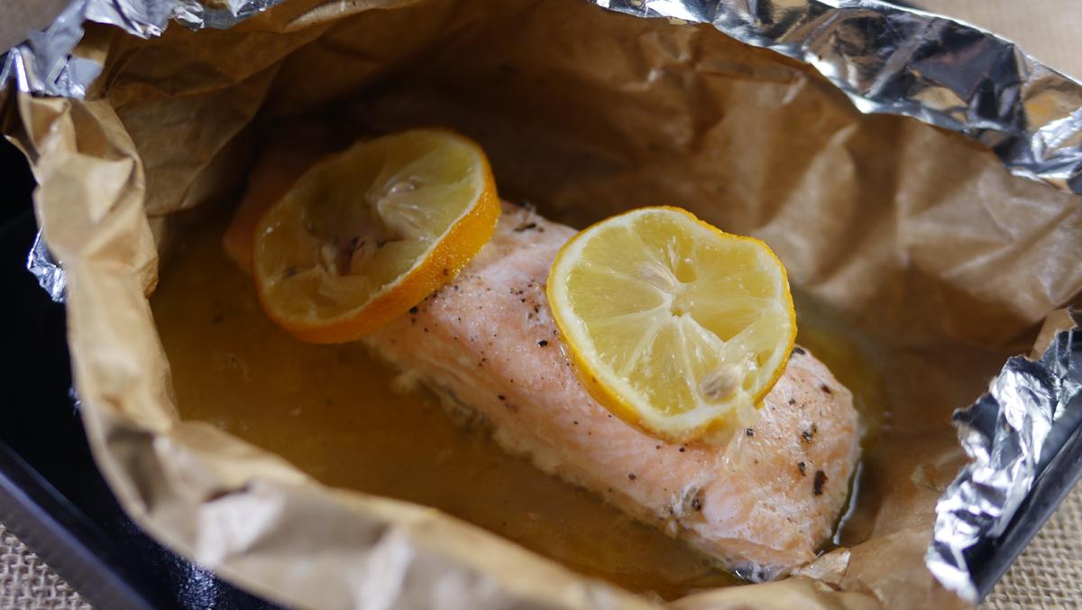 Salmon for Linguine Pesto